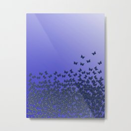Butterflies, butterfly Horde ;) flying insects themed pattern, blue violet and purple, vector design Metal Print