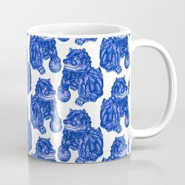 Chinese Guardian Lion Statues in Pottery Blue + White Coffee Mug