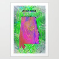 alabama Art Prints featuring Alabama Map by Roger Wedegis