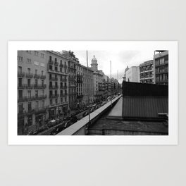 Barcelona, the Rambla from the window Art Print