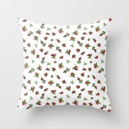 Cranberries white background Throw Pillow