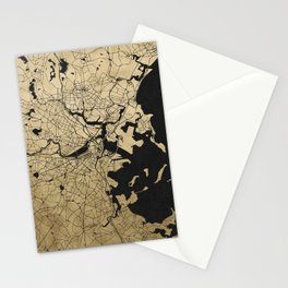 Boston Black and Gold Map Stationery Cards