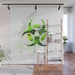 Symbol of Biological Danger Drawn with Paint Wall Mural