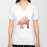 piglet V-neck T-shirts featuring Piglet in Wedding Veil by The Tiny Barn Studio