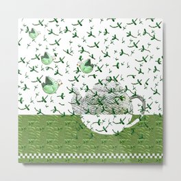Green tea in the morning with birds Metal Print
