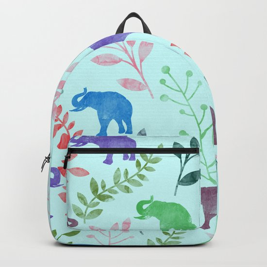 Watercolor Flowers & Elephants II Backpack
