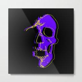 Skull - Purple Metal Print