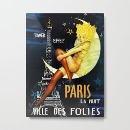 Vintage Paris La Nuit Ville Des Folies Eiffel Tower and Moon Advertising Poster Metal Print