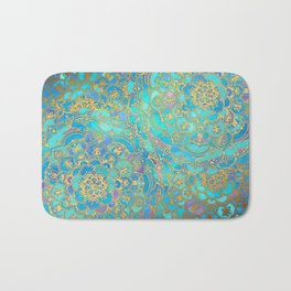 Sapphire & Jade Stained Glass Mandalas Bath Mat