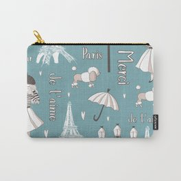 Paris Girl - Blue Carry-All Pouch