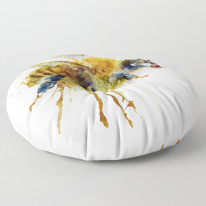Watercolor Bee Floor Pillow