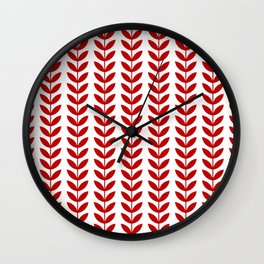 Red Scandinavian leaves pattern Wall Clock