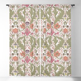 Spring Pattern with Poppy Flowers and Gladioli Blackout Curtain
