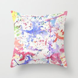 Watercolor Splash Paint Splatter Throw Pillow