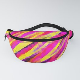 psychedelic geometric polygon abstract in pink yellow orange black Fanny Pack