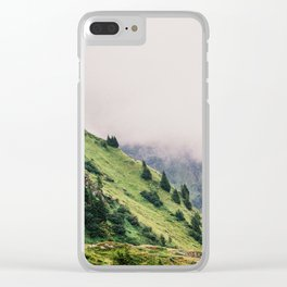 Mountain just took a shower Clear iPhone Case