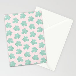 Green Fig Leaves Pattern Stationery Cards
