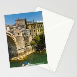 Bosnia and Herzegovina Mostar Bridges river Cities Building bridge Rivers Houses Stationery Cards