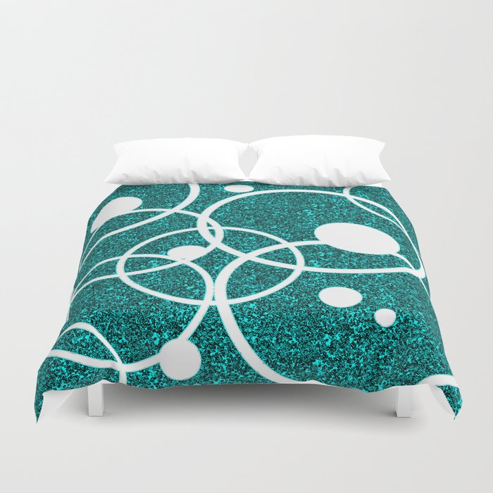 Circles on Black and Blue Duvet Cover