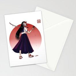 Japanese Demon Masked School Girl Stationery Cards