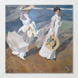 Joaquín Sorolla y Bastida - Strolling along the Seashore Canvas Print