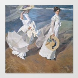 Joaquín Sorolla y Bastida - Strolling along the Seashore Canvas Print