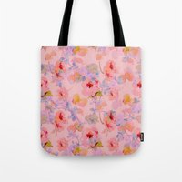 girly Tote Bags featuring girly floral by clemm