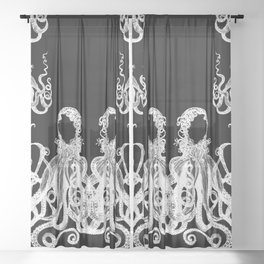 Octopus Black and White Sheer Curtain