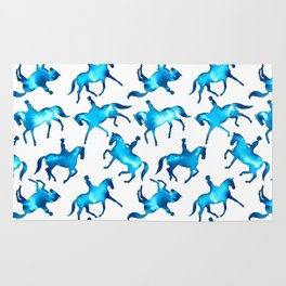 Turquoise Dressage Horse Silhouettes Rug