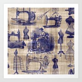 Vintage Sewing Toile Art Print