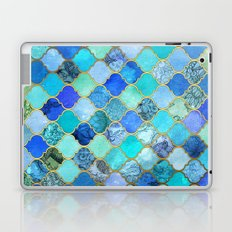 Cobalt Blue, Aqua & Gold Decorative Moroccan Tile Pattern Laptop & iPad Skin