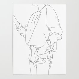 Fashion illustration line drawing - Cal Poster
