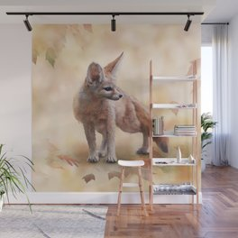Fennec Fox watercolor illustration on autumn background Wall Mural