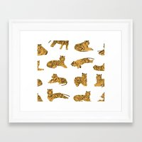 tigers Framed Art Prints featuring Tigers by leah reena goren