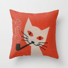 Retro White Cat Smoking a Pipe Throw Pillow