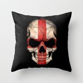 Dark Skull with Flag of England Throw Pillow
