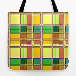 Caribbean Colorful Fabric Madras Tartan Tote Bag