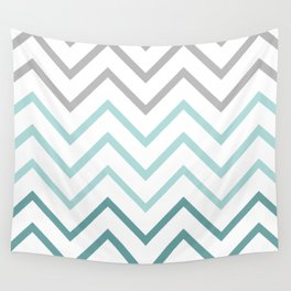THIN TEAL CHEVRON FADE  Wall Tapestry