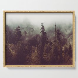 Mountain Morning Mist - Nature Photography Serving Tray