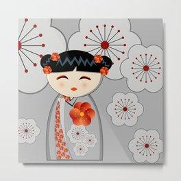 Grey flower kokeshi Metal Print