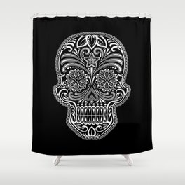 Intricate White and Black Day of the Dead Sugar Skull Shower Curtain
