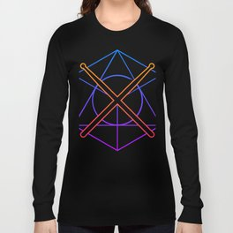 Retro 80s Psychedelic Drum Sticks Long Sleeve T-shirt