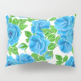 Blue roses watercolor seamless pattern Pillow Sham