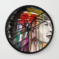 native american Wall Clocks featuring Native American by Hannah Brownfield Camacho