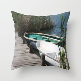 Reeds, Rowing Boats and Old Jetty at Dalyan Throw Pillow