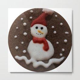 Snowman Cookie Metal Print