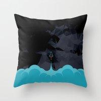 rocket Throw Pillows featuring Rocket by Talip Memis