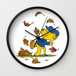 Ferald Dancing Amongst The Autumn Leaves Wall Clock
