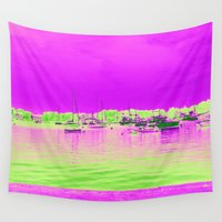 ships Wall Tapestries featuring Green Pink Sea with Ships by BACK to THE ROOTS