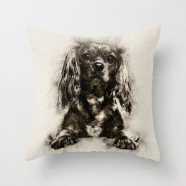 Cavalier King Charles Spaniel Puppy Sketch Throw Pillow